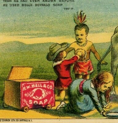 a6  Trade card 1880 ? Rockwell Bros WEllsville nY Indian Boy RW Bell Soap 487a