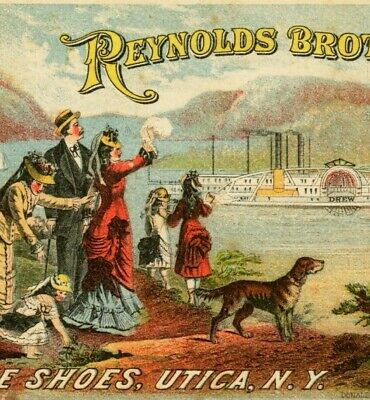 a6  Trade card 1880 ? Reynolds Brothers Shoes Utica NY steamship wellsville 489a