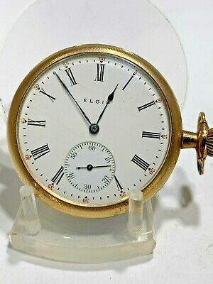 Antique 1912 Elgin Hunting Open Face  Pocket Watch Gold Tone