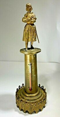 """Rare Antique French Gilt Bronze Ornate """"Joan Of Arc"""" Figural Tall Thermometer"""