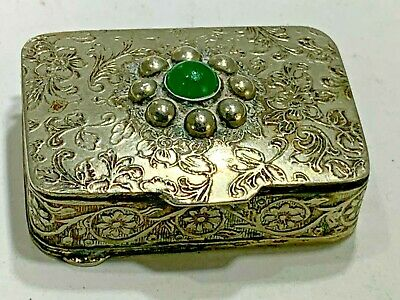 Elegant Made In Italy  Scrolled Design Trinket/Pill Box With Green Stone
