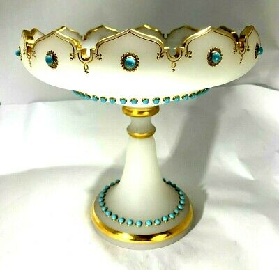 Antique 1850's French Empire Opaline Jeweled Large Centerpiece Compote