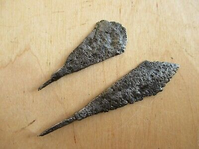 2 Viking Forged Iron Arrowheads