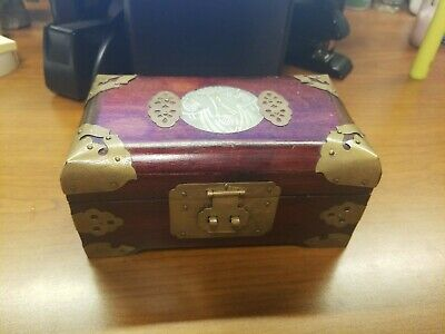 Antique Chinese Wooden  Box Jewelry Mother Of Pearls Ornate RARE