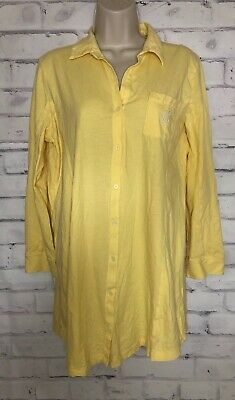 LRL RALPH LAUREN Night Shirt Size Large Yellow Cotton Monogram Sleep Gown