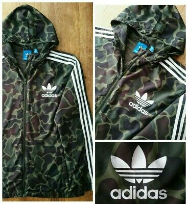 ADIDAS ORIGINALS CAMO Windbreaker Jacket Hooded Mens Medium