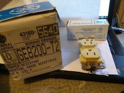 Lot Of 10 Ge 15 Amp 125V Hospital Grade Tamper Res. Duplex Receptacles  Ivory