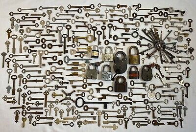 245PC Vintage Antique Skeleton Flat Key & Padlock LOT Obsolete Cabinet Barrel