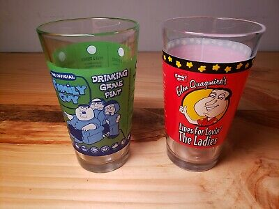 The Official Family Guy Drinking Game Pint Beer Glass Lot of 2