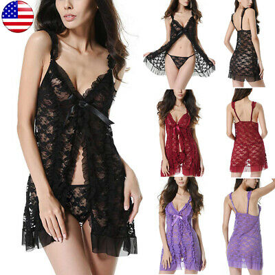 Charm Women Lady Sexy Lingerie Lace Dress G-string Underwear Babydoll Sleepwear