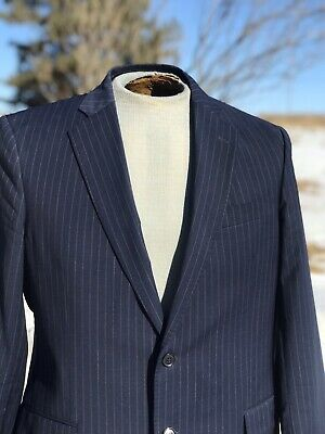 BROOKS BROTHERS 346 Suit Wool Stretch Navy Pinstripe 42R Pants 35 X 28.75
