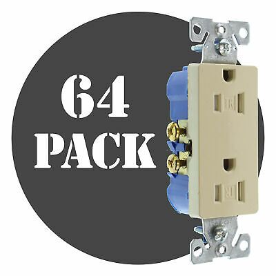 Hubbell Rrd15Sitrz Duplex Decorator Receptacle, Tr, 15A, 120V, Ivory, (64-Pack)