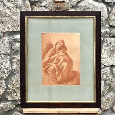 Beautiful Large Antique 19th century Classical Religious Print Madonna And Child