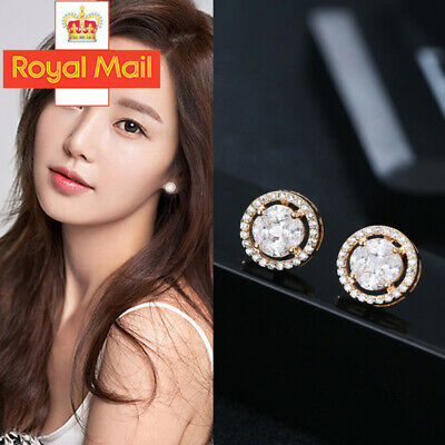Fashion Elegant Gold Silver Rose Circle Crystal Stud Charm Earrings Jewelry U