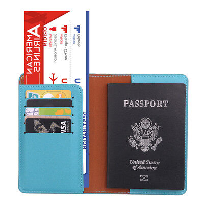 FT- Travel Passport Holder Case Cover Faux Leather RFID Blocking Wallet Pouch No