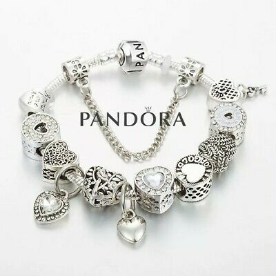 """Authentic Pandora Charm Bracelet Silver White  """"LOVE STORY"""" with European Charms"""