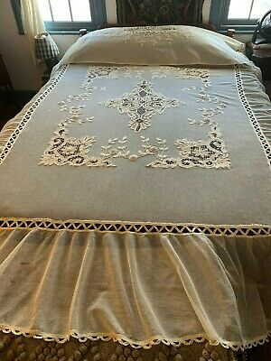 Antique C1920 Tambour + Tape Lace Embroidered 3PC Bedspread Sham 3D Embroidery