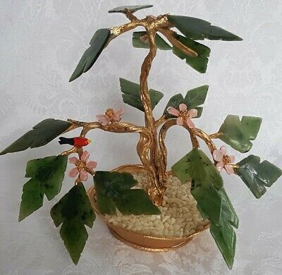 Vintage Chinese Jadeite Jade & Brass Bonsai Tree PINK Flowers Bird  Arrangement