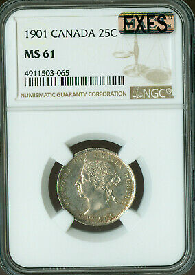 1901 Canada 25 Cents Ngc Mac Ms-61 Exfs Exceptional First Strike Rare.