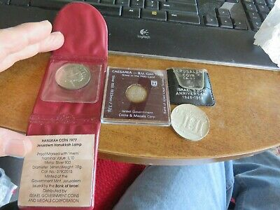 3 Silver Israel Coins: 1968 20Th Anniversary - 1988 Holy Sites - 1977 10 Lirot