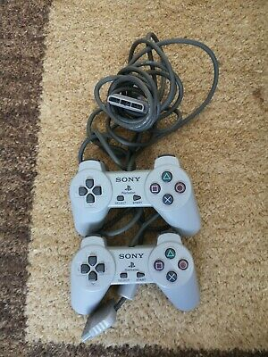 Playstation One PS1 Official Sony Controllers Grey X 2