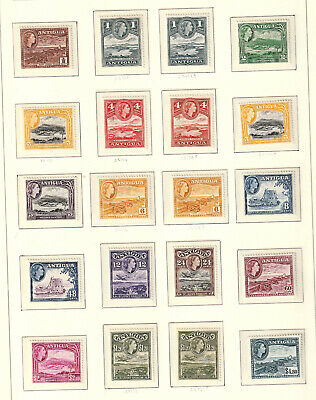QEII ANTIGUA 1953 SG 120a - 134 LONG SET WITH VARIETIES LMM
