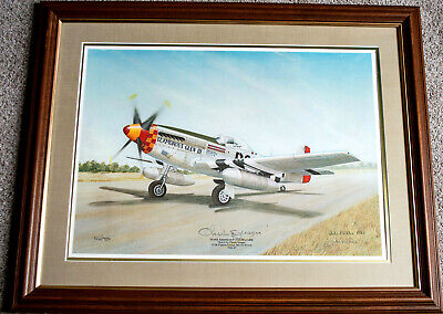 Chuck Yeager P-51D Mustang Dual Signed Lithograph By John Ficklen /950 Framed