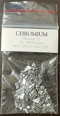 Chromium metal 99.8% pure 10g sample.  Element 24,  collectors, chemistly etc.