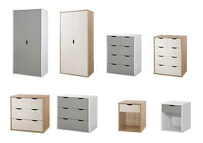 Alton Bedroom Furniture Wardrobe 3+2 Chest Drawers Bedside Sonoma Oak White Grey