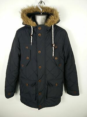 Mens Brave Soul Navy Blue Zip/Button Up Hooded Padded Quilted Parka Coat S Small