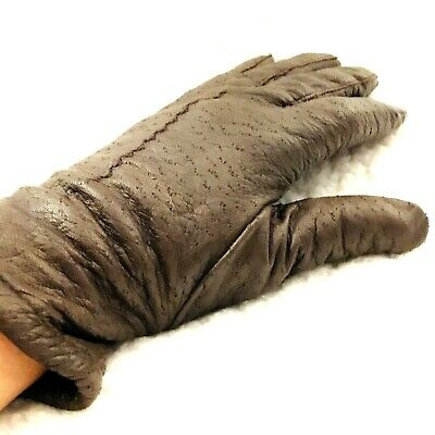 Vintage Fownes Women Gloves Size 6.5 Peccary Pigskin Leather Lined Driving Brown