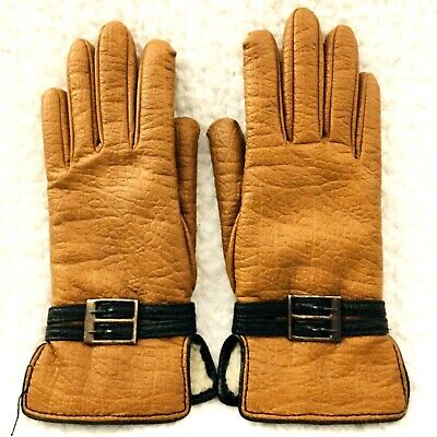 Vintage Van Raalte Womens Gloves Size M Softee Faux Leather Sherpa Gold Brown