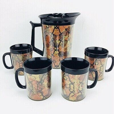 Thermo Serv Insulated Carafe and 4 Mugs Set Black Orange Gold Groovy Vintage