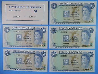 Lot of 5 Sequential Serial # 1970 Bermuda $1 One Dollar Notes CU Uncirculated