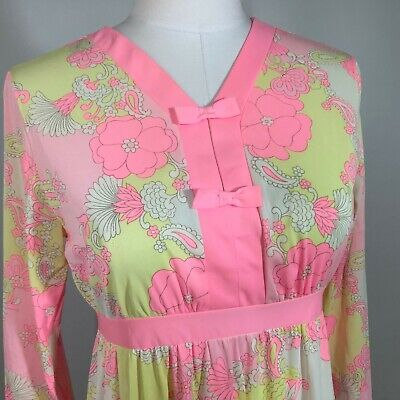 Vintage 60s Nightgown Lorraine Nylon Nightie Pink Floral Small Label Size 32