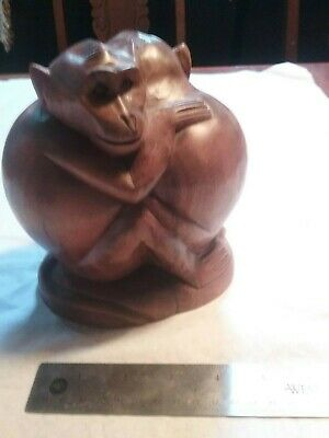 ***Vintage Wooden Carved Monkey Statue--Signed--Collectible--L@@K***