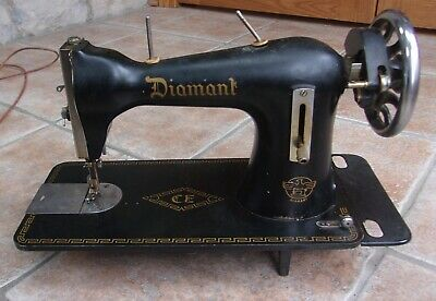 Antique Vintage Diamant Black Sewing Machine Made In Italy