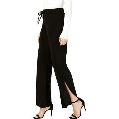 INC Womens Black Split Hem Drawsting Soft Wide Leg Pants XS BHFO 3342