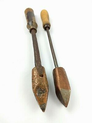 Antique Hand Forged Blacksmith Soldering Iron Wood Handle Lot of 2 Copper Head