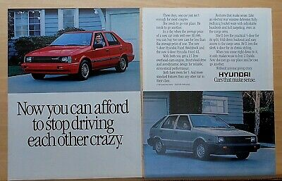 1986 two page  magazine ad for Hyundai - Excel hatchback and GL, 2 car family