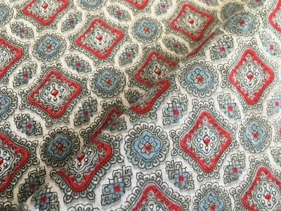 Vintage 1950s Retro Cotton Print Fabric 86 x 225cm - Red & Grey Diamond Paisley