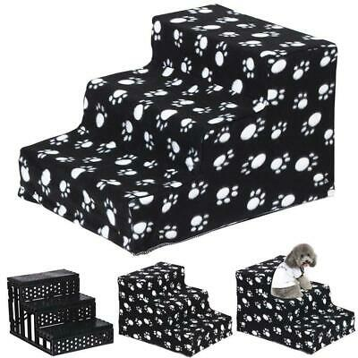 3 Steps Portable Dog Puppy Ladder Doggy Pet Soft Stairs Ramp&Washable Cover UK