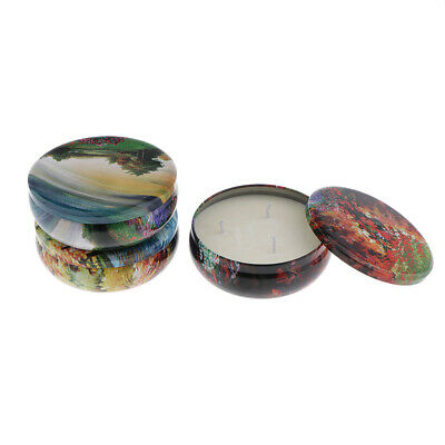 3x 100% Natrual Scented Candle Soy w/ Cotton Wick &Metal Tin Box For Men & Women