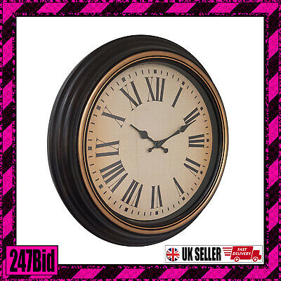 Hometime Vintage Bronze Deep Case Wall Clock Cream Dial Black Hands 45Cm Dia