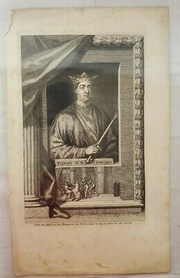 Antique King Henry II Of England Engraving Etching By George Vertue