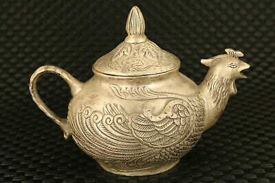 old Chinese Tibet silver hand cock statue tea pot tea pet collectable decoration