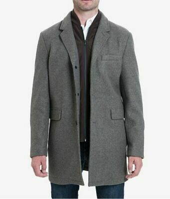 $640 Michael Kors Men's Gray Ghent Overcoat Wool Warm Winter Jacket Size Large