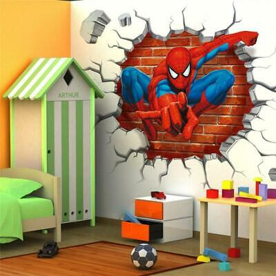 3D Crack Spiderman Wall Stickers Avengers Superhero for Boys Kids Bedroom Decor
