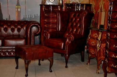 Chesterfield Classik Queen Kamin Sessel Leder A1 SP 400
