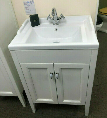 Traditional victorian white oak bathroom washstand vanity sink unit with basin